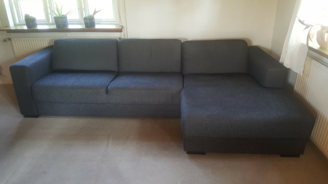 Sofa, stof, 3 pers., Sofa med chaiselong. L.277 cm B 93 cm…
