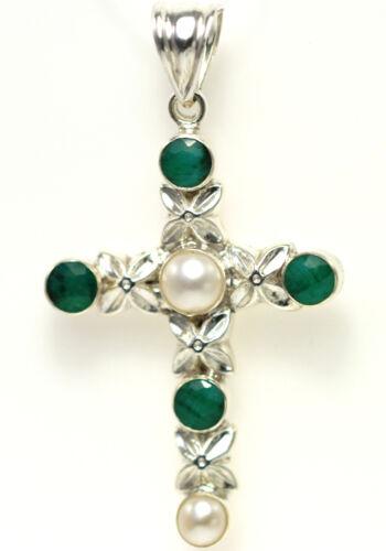 Cross Pendant Emerald /& Pearl 925 Silver Handmade Jewelry May /& June Birthstones