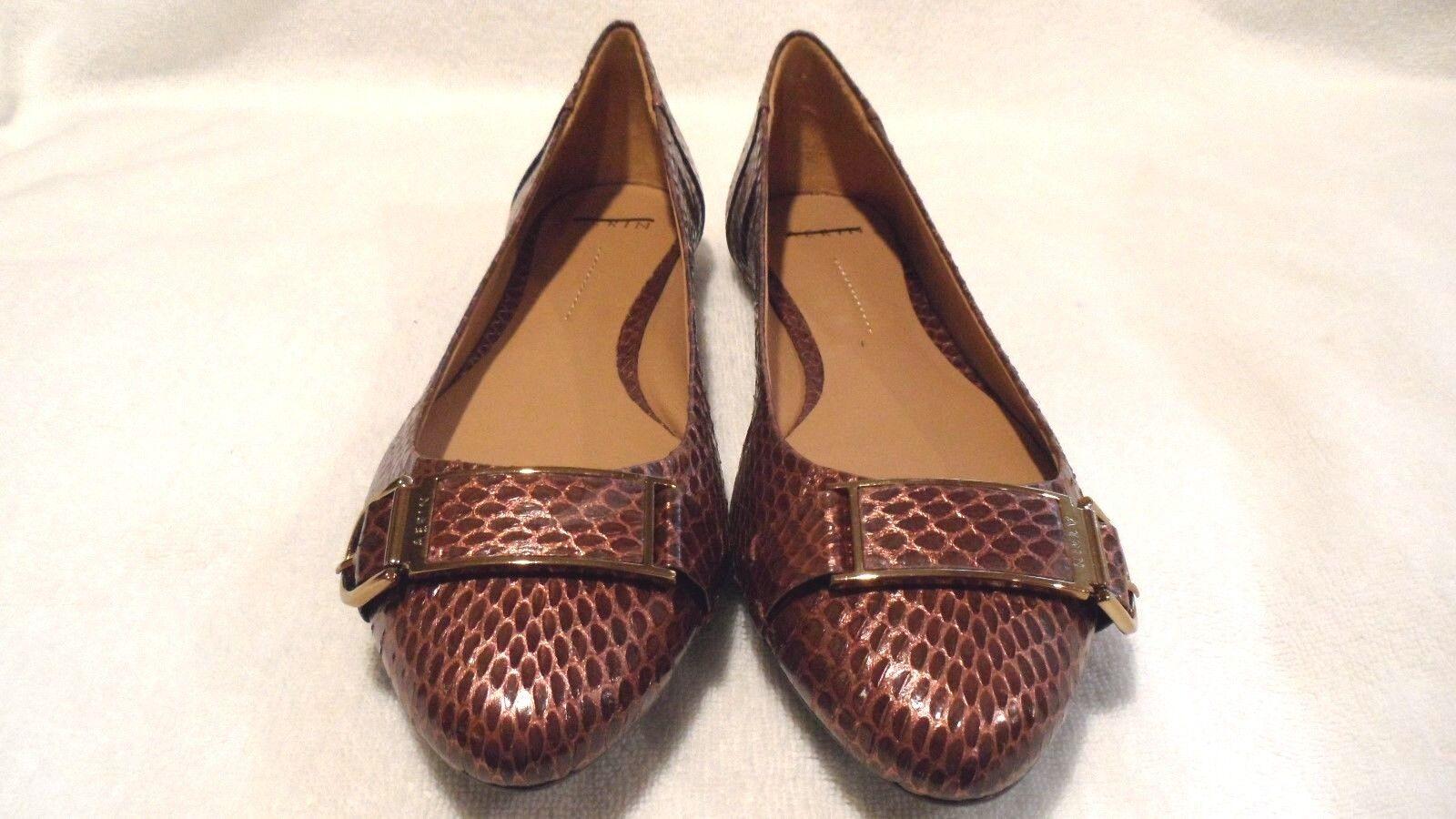 Retail  268 Aerin Copper Apthorp Patent Snakeskin Flats Sz 8.5