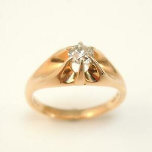 Vintage-9-Carat-Diamond-Solitaire-Ring-Rose-Yellow-Gold-Mount