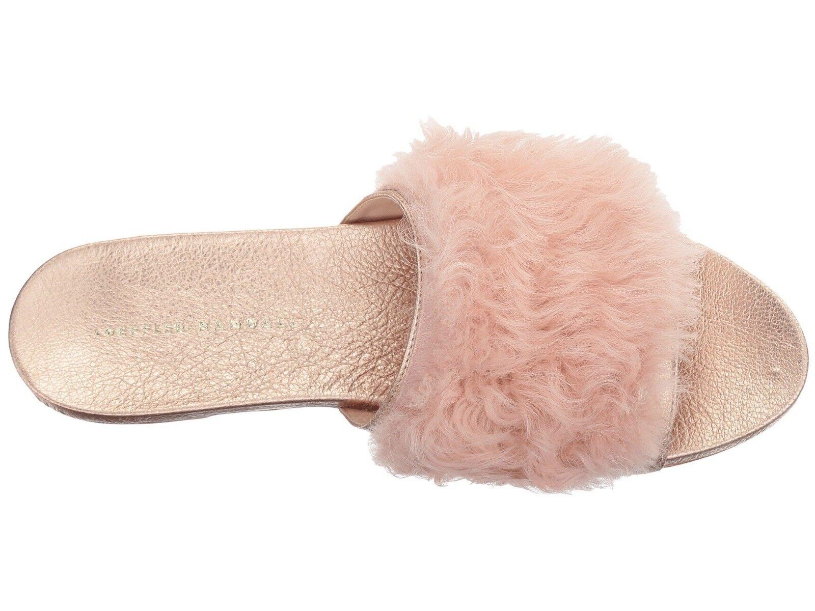 Loeffler Randall  Domino Flat Shearling Slide Pink  Rose 38/8 MSRP  Pink 395.00 1744a5