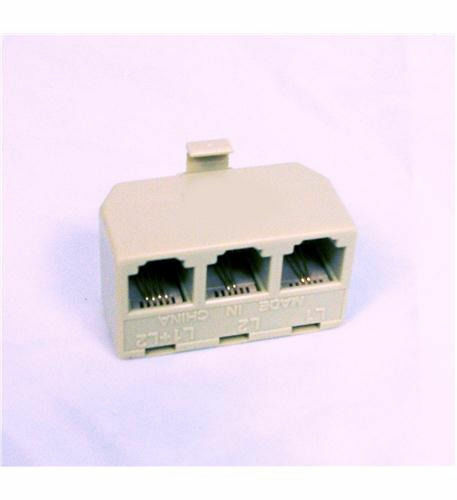 AT/&T Triplex Adapter Plugs into any 2 Line Phone Jack IVORY ATT-89-0075-00 New