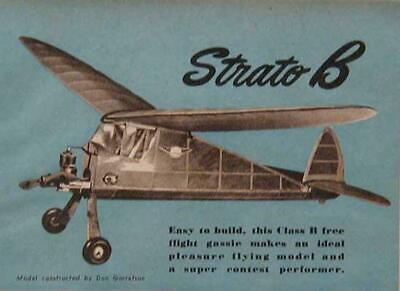 Class B Ff Plane 1946 How-to Build Plans Contest Flyer Strato