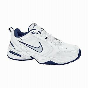 USED-Men-039-s-NIKE-AIR-MONARCH-416355-White-Blue-Silver-Athletic-Sneakers-Shoes