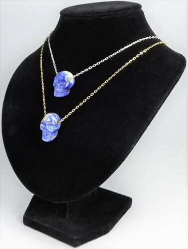 Skull Necklace Blue Sodalite Natural Pendant BB45 Healing Crystals And Stones