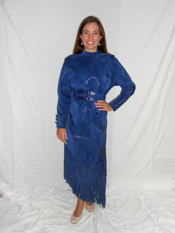 Vintage 1990s CHRISTIAN DIOR   John Galliano bluee leather suede fringed dress, 4