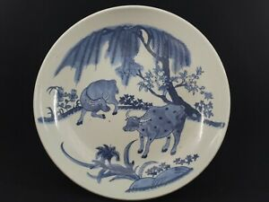 Large Old Chinese Handpainted Blue&White Porcelain Plate
