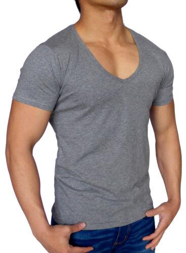 MENS PLAIN DEEP V-NECK T SHIRT SLIM FIT HEATHER GREY FASHION MUSCLE GYM CASUAL