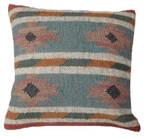 """Indian Wool Jute Cushion Cover 18x18/"""" Pillow Case Kilim Rustic Sofa Sham Hippie"""