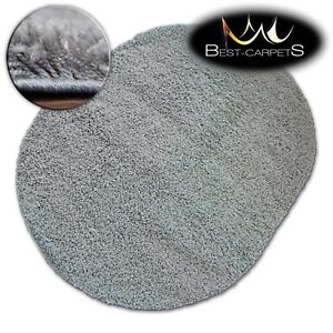 Very Soft Modern Oval Shaggy Rugs Galaxy Grey Good Quality Fluffy
