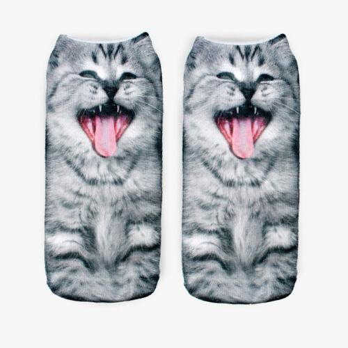 3D Print Animal Women  Socks Socks Cute Cat Unisex Low Cut Ankle Socks HGUK