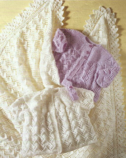 """Baby Lace Shawl Coat Headband DK 4ply Knitting Pattern 14-18"""" premature size 214"""