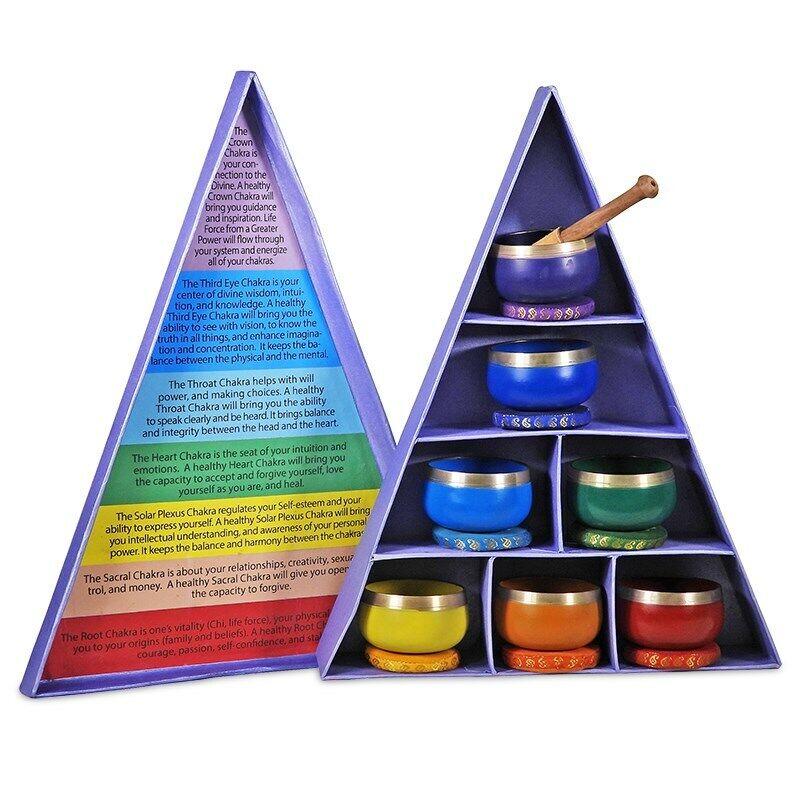 Komplettset Klangschalen Chakra Bunt in Paket Geschenk mit Klöppel