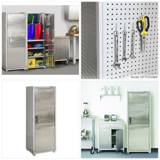 Heavy Duty Stainless Steel Storage Cabinet Commercial Garage Seville Home Tall
