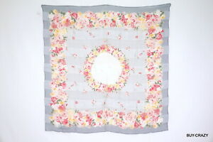 Christian-Dior-large-format-scarf-100-silk-Floral-houndstooth-stall-shawl-2253k