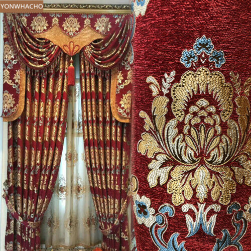 Luxury European red thick chenille Jacquard cloth blackout curtain valance B617