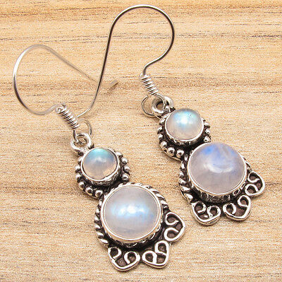 HANDMADE JEWELRY EARRINGS , Natural Fire MOONSTONE Gemstones, 925 Silver Plated