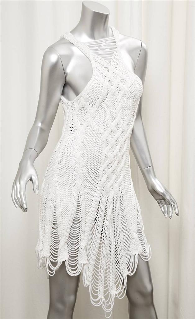 Jen Kao Weiße Wolle Zopfmuster Ärmellose Tunika Kleid Größe M Rt   935