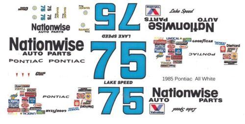 #75 Lake Speed Nationwise Pontiac 1/32nd Scale Slot Car Waterslide Decals