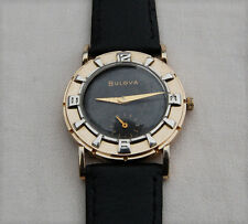 BULOVA –  10k Gold Plate – Black Dial – Sub Dial - Mens Wrist Watch – 1950's