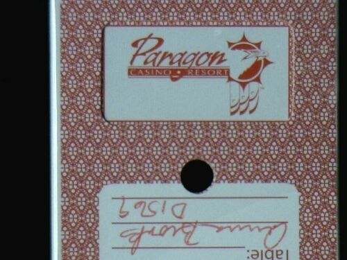 """Casino Dealer Holed Cancelled Deck of Playing Cards from /""""Paragon Casino/""""  USED"""