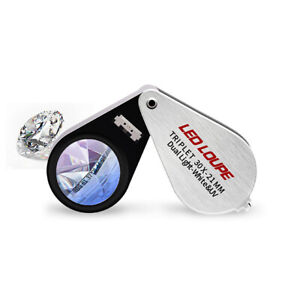 30X-Juwelier-Lupe-LED-amp-UV-Licht-21mm-Triplet-Optische-Linse-Schmuck