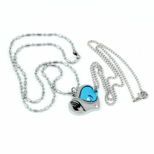 Anime Fairy Tail Natsu Dragneel Crystal Lovers Heart Pendant Necklace Gift