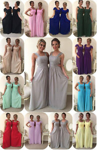 Chiffon Maxi Bridesmaid Wedding Formal Dress Party Evening Prom Minnie Party