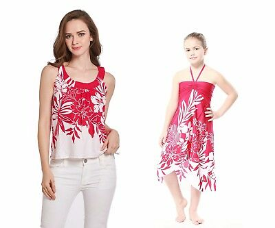 Mother Daughter Matching Luau Cruise Dress Hawaiian Tank Top Pink Indri