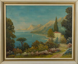 Mid-20th-Century-Oil-A-Sunny-Morning-By-The-Lake