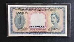 MALAYA & BRITISH BORNEO 1 DOLLAR QUEEN ELIZABETH II, 1953 GVF