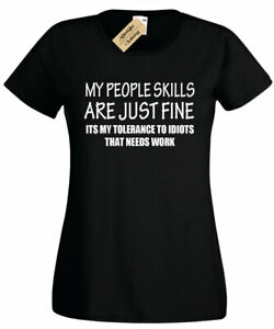 Haut-femme-PEOPLE-competences-Drole-T-shirt-Sarcastique-Cadeau-Sarcasme-humour-blague-femme