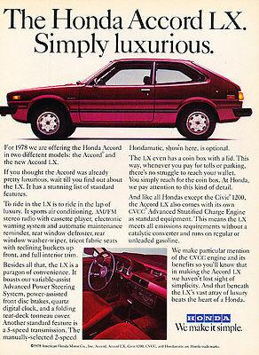big Classic Vintage Advertisement Ad A65-B 1978 Honda Accord