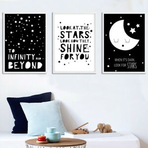 Image Is Loading Black White Moon Star Canvas Nursery Wall Art