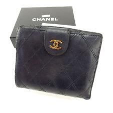 Auth Chanel W Hock Wallet Matrasse unisexused J7228