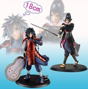 Set 2PCS Naruto Shippuden Uchiha Madara/Uchiha Sasuke Figure 18CM Toy New