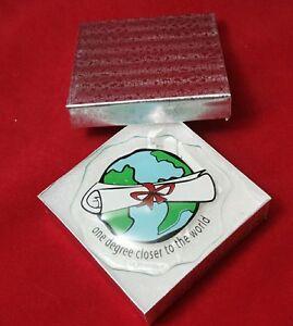 Graduation Diploma Glass Ornament Graduate Degree School World Class Decor Gift