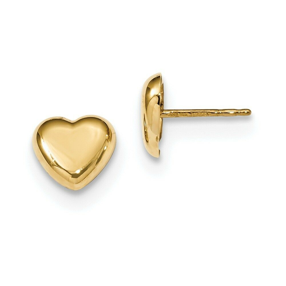 14kt Yellow gold gold Polished Heart Post Earrings