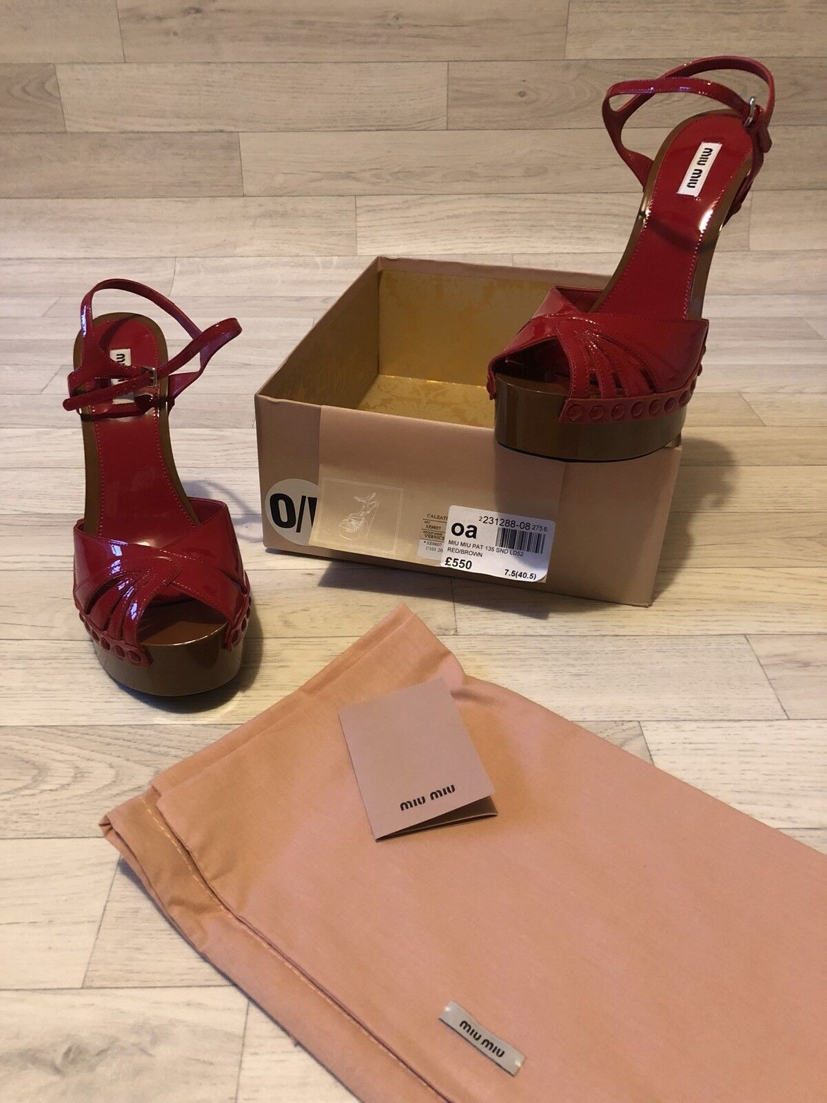 Miu Miu (Prada) shoes High Heel Patent Leather Red Brown Sandals UK7.5 EU40.5
