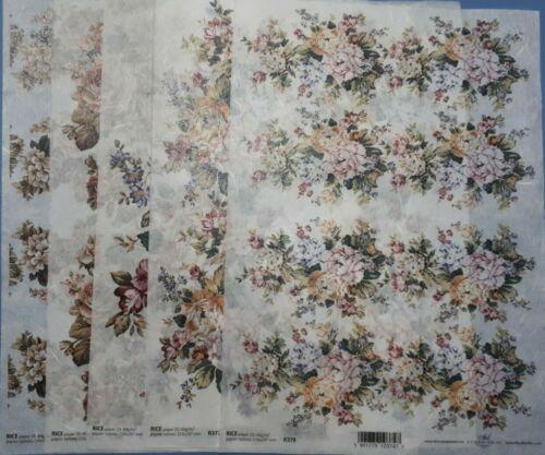 DTI papier de riz pour decoupage Set de 5 Fleurs 38