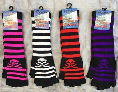 Ladies skull and crossbone finger-less fingerless Magic LONG gloves NEW Emo goth
