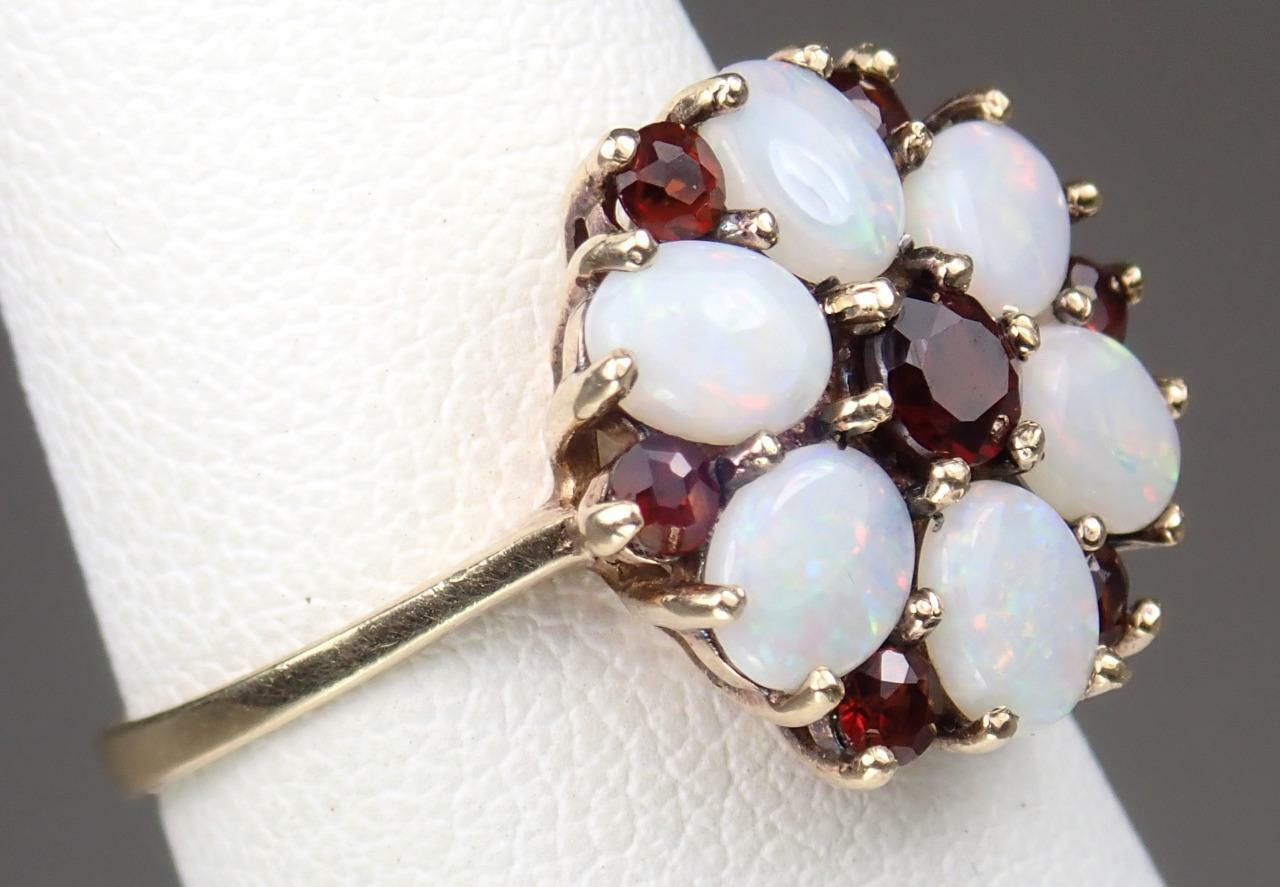 Beautiful Vintage Estate 9K Gold 1.1ct Opal Garne… - image 4