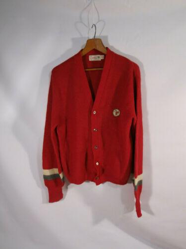 1950's Catalina Red Alpaca Cardigan Men's M Stripe