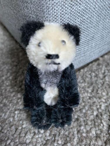 "RARE VINTAGE MINIATURE SCHUCO Mohair Black /& White Panda BEAR 2.5""Jtd NICE"