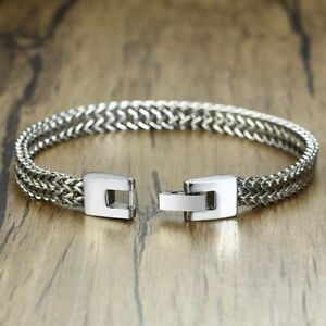 Men-Stainless-Steel-Double-Link-Chain-Elegant-Wrist-Bracelet-Solid-Male-Jewelry