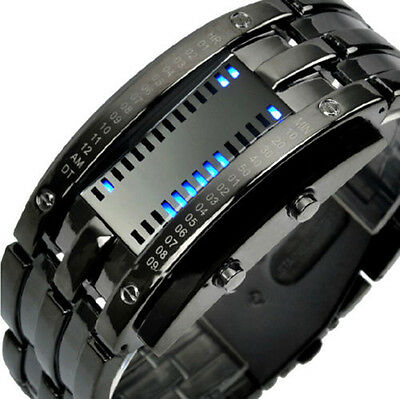 Luxury Men's Women Black Stainless Steel Date Digital LED Bracelet Sport Watches