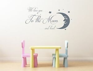 we love you to the moon and back stars nursery wall art vinyl