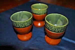 3 Coquetiers - Egg Cup - En Bois Et Céramique