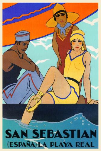 Girls Beach San Sebastian Spain Travel Tourism Trip Vintage Poster Repro FREE SH