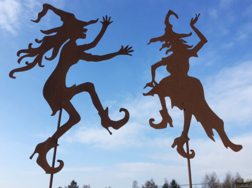 Stab Rost Edelrost Metall Gartenstecker Tanz JUNGE HEXE tanzend Hexen 70x50cm
